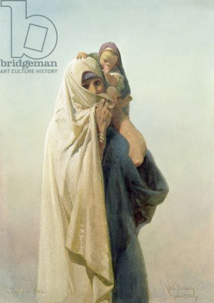 A Coptic Mother, 1859 (w/c on paper)