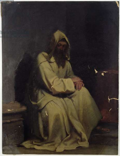 Portrait of a Monk Seated, 1847 (oil on paper)