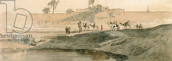Outside Bab il Cadit, Cairo, 1859 (pencil and wash on paper)