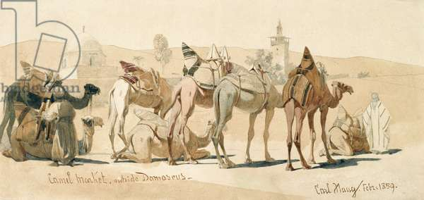 Camel Market Outside Damascus, 1859 (pencil and wash on paper)