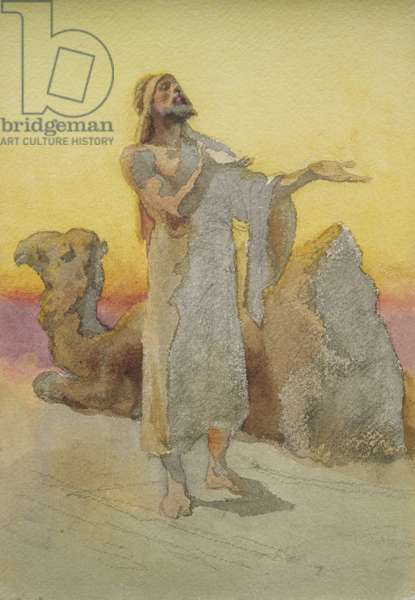 Study of an Arab Praying in the Desert with his Camel (w/c on paper)