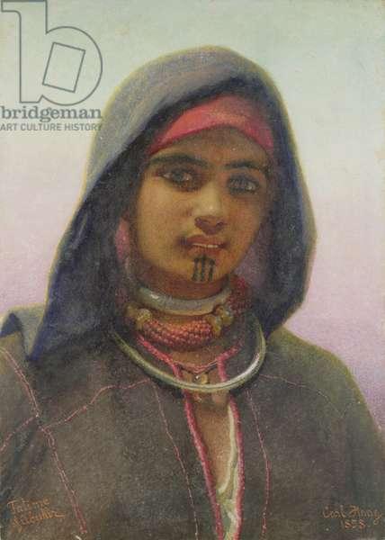 'Fatime of Abukir', portrait of an Egyptian Fellaheen Girl, 1858 (w/c on paper)