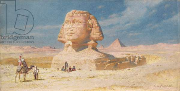 The Sphynx of Giza with the Pyramid of Mykerinos, 1874 (w/c on paper)