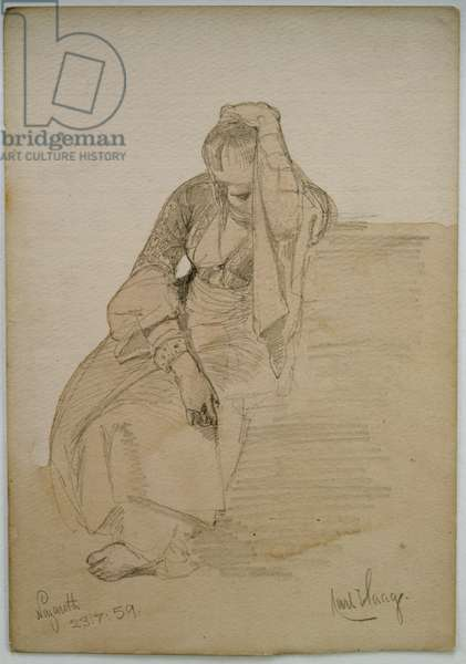 Study of a seated lady, Nazareth, 1859 (pencil and w/c wash on paper)