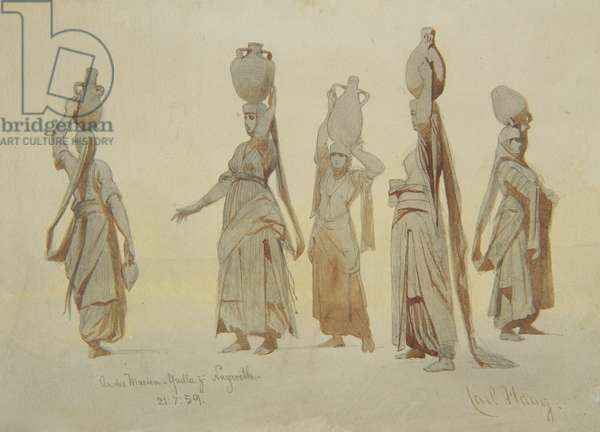Female water carriers, Nazareth, 1859 (pencil and wash on paper)