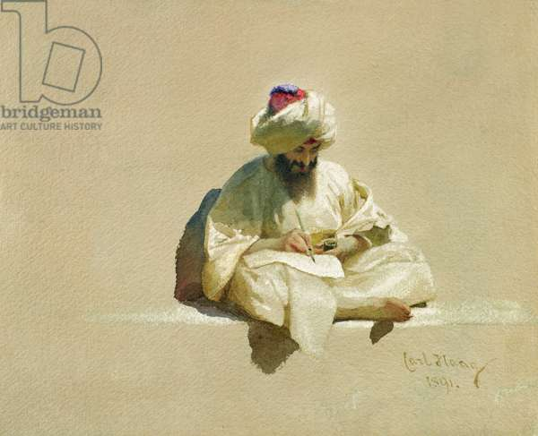 The Letter Writer, 1891 (w/c on paper)