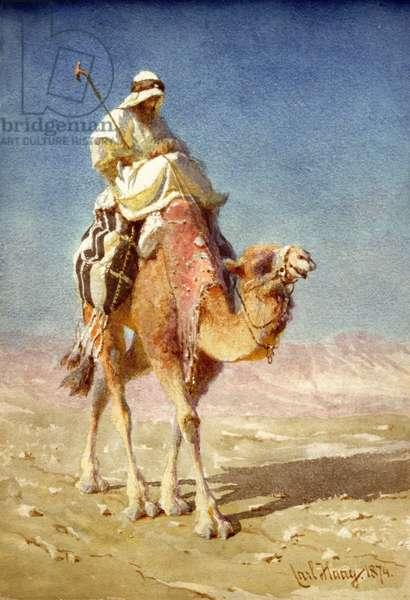 A Bedaween on a Camel's Back, 1874 (w/c on paper)