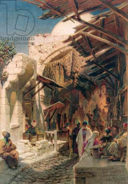The Bazaar near the Damascus Gate in Jerusalem (w/c on paper)