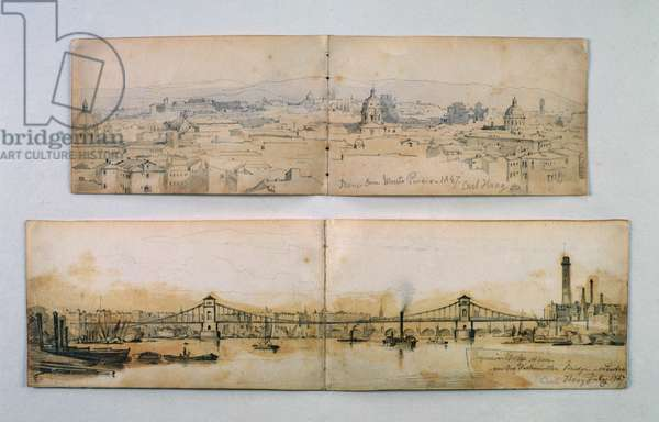 Hungerford Suspension Bridge and Monte Pineio, 1847 (pencil and wash on paper)