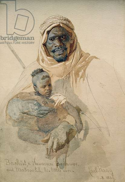 Bachist, a Howazeen Bedawee and Mabzookh, his little Son, 1859 (pencil and w/c wash on paper)