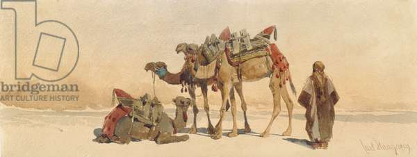 Resting with Three Camels in the Desert, 1859 (w/c on paper)