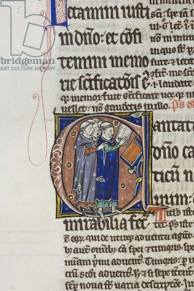 Illuminated and inhabited initial 'C' with four clerics singing, from Pslam 97 in an illuminated copy of Peter Lombard's Great Gloss on the Psalms (vellum)