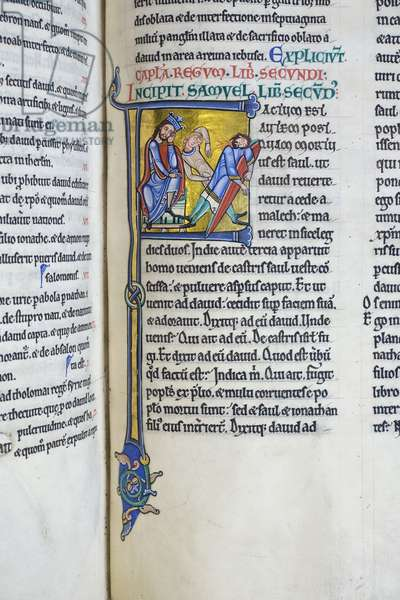 Illuminated and inhabited initial 'F' depicting King David's grief over the slaying of Saul and Jonathan, from II Kings/II Samuel, from the Bible of Hugh de Puiset (vellum)