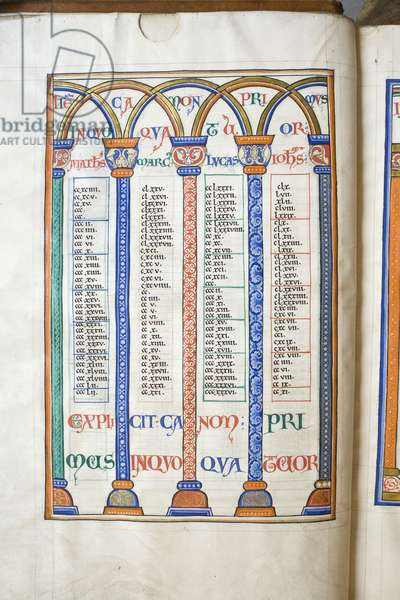 Illuminated and decorated canon table, from the Bible of Hugh de Puiset (vellum)
