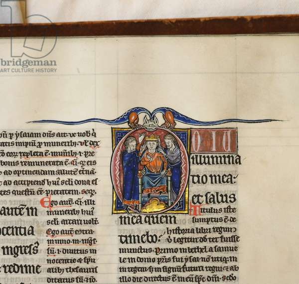 Illuminated and inhabited initial 'D' featuring the coronation of King David, from Psalm 26 in an illuminated copy of Peter Lombard's Great Gloss on the Pslams (vellum)