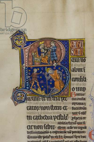 Decorated and inhabited initial 'B' featuring King David playing the harp, and the young David slaying Goliath, from Pslam 1 in an illuminated copy of Peter Lombard's Great Gloss on the Psalms (vellum)