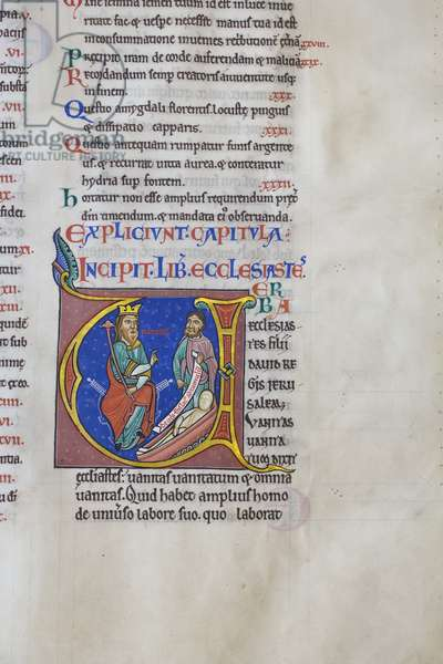 Illuminated and inhabited initial 'U' at the opening of the book of Ecclesiastes, from the Bible of Hugh de Puiset (vellum)