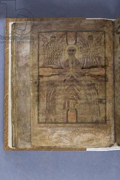 Crucifixion, at the end of St Matthew's Gospel, from the Durham Gospels, c.700 (vellum)