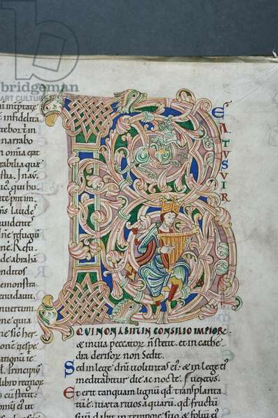 Decorated and inhabited initial 'B' featuring King David playing the harp, from Psalm 1 in the Carilef Bible (vellum)