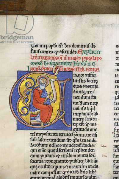Illuminated and inhabited initial from the Preface to Ezra, from the Bible of Hugh de Puiset (vellum)