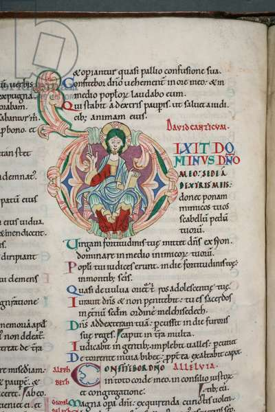 Decorated and inhabited initial 'D' depicting figure of God, from Psalm 109 in the Carilef Bible (vellum)