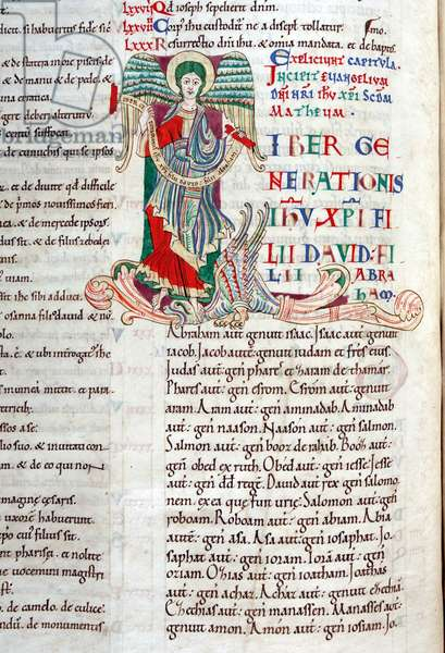 Decorated initial 'L' featuring the winged man symbol of St Matthew, from Matthew's Gospel in the Carilef Bible (vellum)