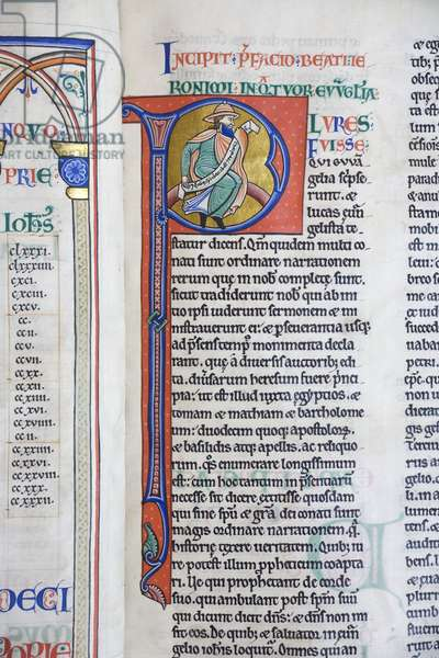 Illuminated and inhabited initial 'P' from St. Jerome's preface to the Gospels, from the Bible of Hugh de Puiset (vellum)