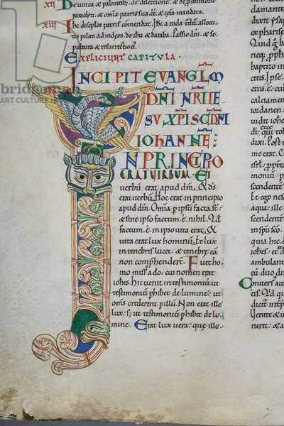 Decorated initial 'I' featuring the eagle symbol of St John the Evangelist, from John's Gospel in the Carilef Bible (vellum)