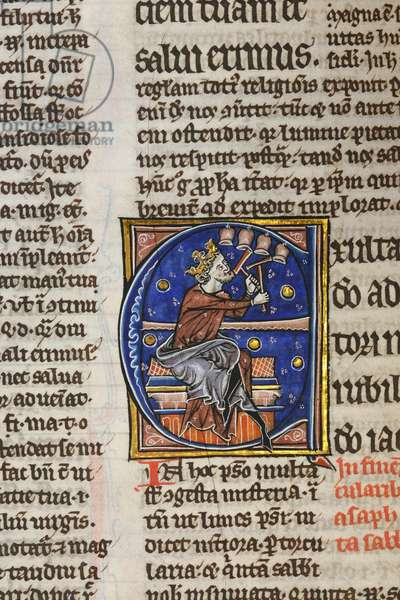 Illuminated and inhabited initial 'E' featuring King David playing bells with hammers, from Psalm 80 in an illuminated copy of Peter Lombard's Great Gloss on the Psalms (vellum)