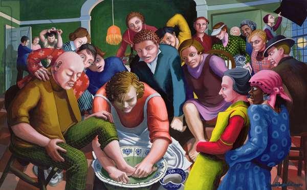 Jesus washes Disciples' feet, 1995-96 (acrylic on canvas)