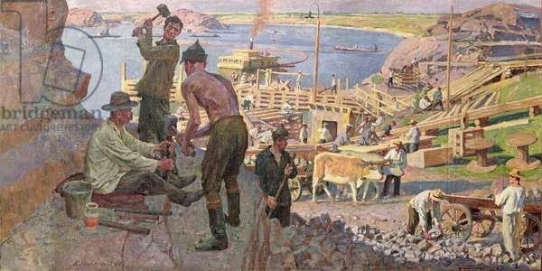 Workers of the First Five Year Plan Period: Construction of Drieproges Hydroelectric Station (oil on canvas)