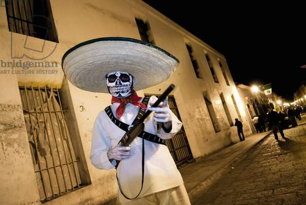 Boy Dressed As a Bandit For Mexican Day of the Dead Celebration, Mexico (photo)