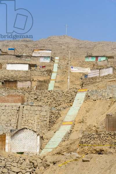 Shanties Built on Levels of Rugged Terrain, Lima Peru (photo)