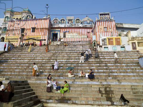 People on the Ghats that Lead to the River, the Ganges, Varanasi, India (photo)