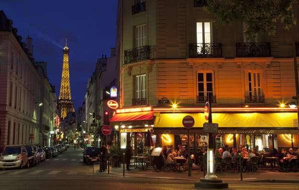 Parisian Cafe  and The Eiffel Tower, Central Paris, France, Europe (photo)