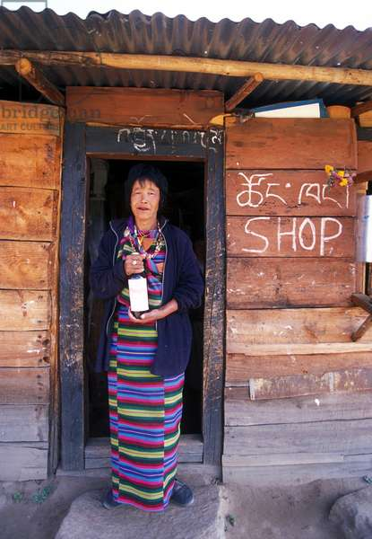 Typical Shop and Owner with Whisky in Paro Valley (photo)