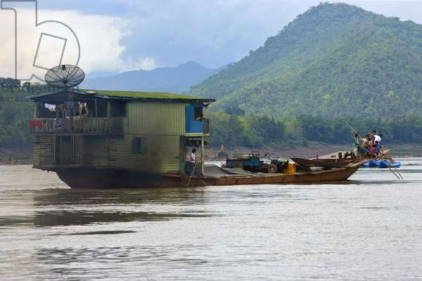 Houseboat on a River in Laos (photo)
