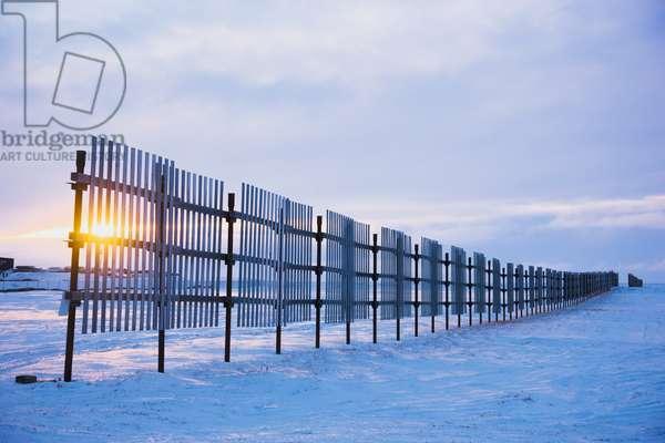 Sun setting behind a snow fence, Barrow, Winter, Arctic Alaska, USA (photo)