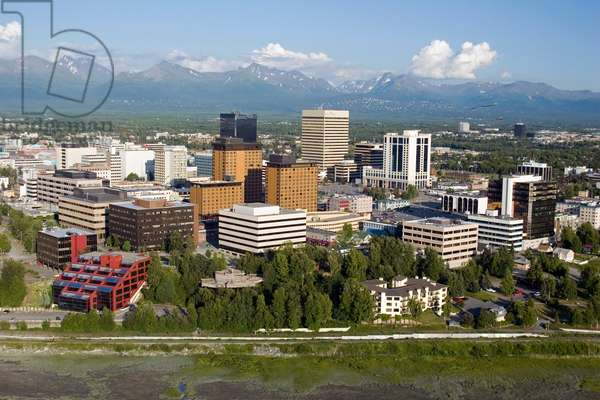 Aerial Of Downtown Anchorage With Chugach Mtns In Distance, Southcentral Alaska Summer (photo)