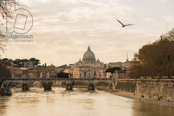 St. Peter's basilica and River Tiber, Rome, Lazio, Italy (photo)