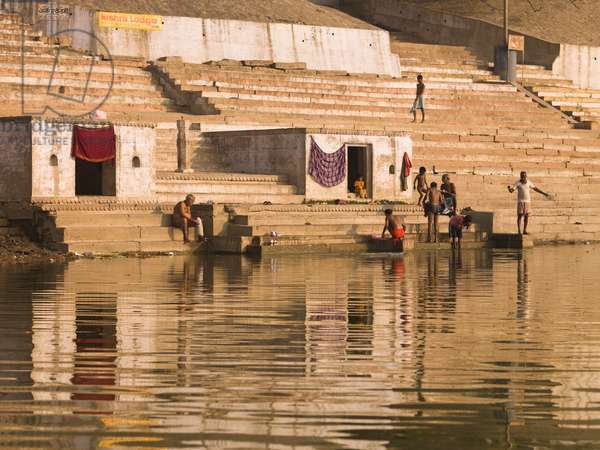 The Ganges, Varanasi, India, People bathing in the River (photo)