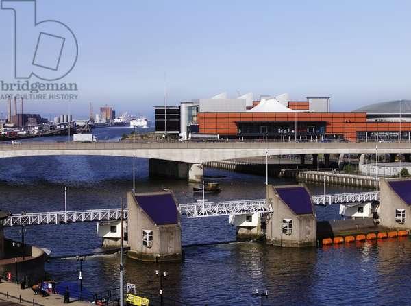 Lagan Weir And The Odyssey Arena, M3 Bridge, River Lagan, Laganside, Belfast, Ireland (photo)