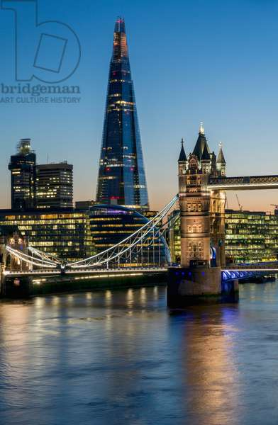 Shard and Tower Bridge at dusk, London, England, UK  (photo)