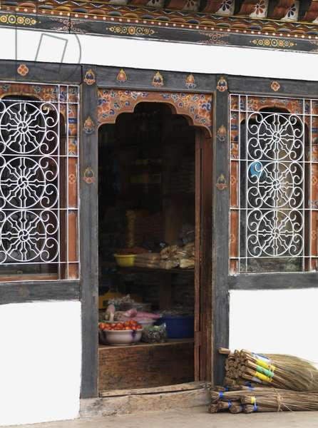 Fruit and Vegetables in Bowls Inside the Doorway of a Building, Paro District Bhutan (photo)
