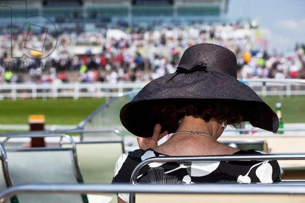 Woman Wearing Fancy Hat at Epsom Derby, London, England, UK  (photo)
