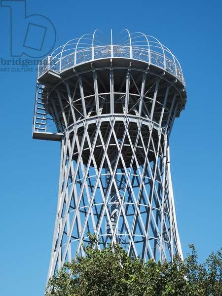 Disused Soviet-era water tower, opposite Ark Fortress, Bukhara, Uzbekistan (photo)