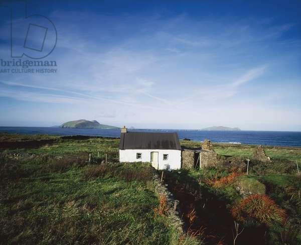 Slated Cottage At Dunquin, Dingle Peninsula, Blasket Island Co Kerry, Ireland. (photo)