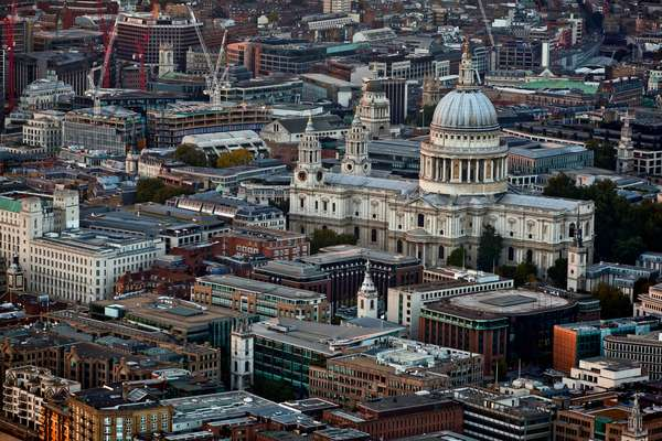 Elevated view from the Shard Building of St. Paul's Cathedral, London, England, UK  (photo)