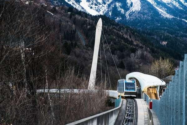 Hungerburgbahn, hybrid funicular railway, Loewenhaus station by Zaha Hadid, Innsbruck, Tyrol, Austria (photo)