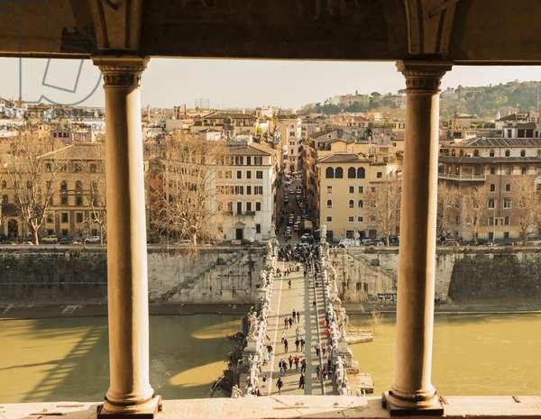 Castel sant'angelo, bridge sant'angleo and River Tiber, Rome, Lazio, Italy (photo)